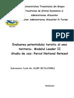 Evaluarea Potentialului Turistic Al uUnui Teritoriu - Modelul Leader II - Parcul National Retezat