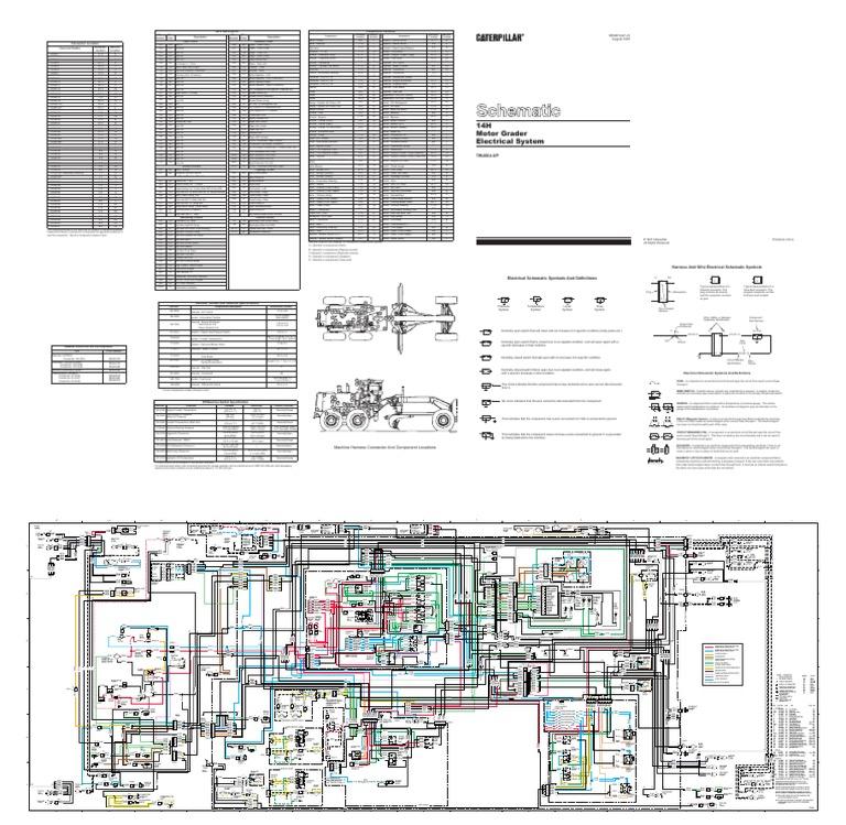 cat grader 14h 7wj664 up electrical system schematic rh scribd com Caterpillar C15 Engine Diagram Caterpillar Engine Schematics