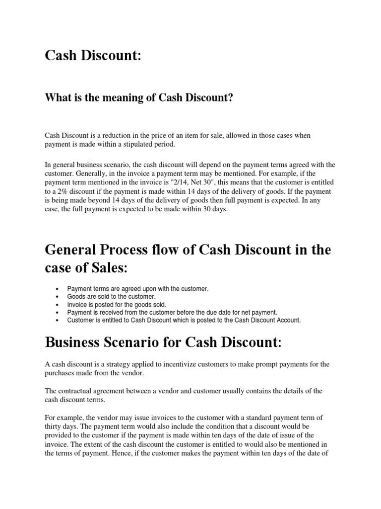 Cash Discount Configuration Discounts And Allowances Invoice