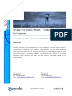 Analytics exploration – today and tomorrow