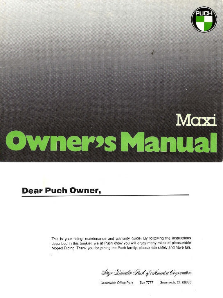 Puch Maxi Owners Manual | Gasoline | Throttle