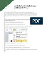 Cara Membuat Orientasi Berbeda Dalam Satu Dokumen Microsoft Word