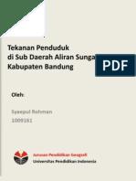 Tekanan Penduduk di Sub Daerah Aliran Sungai Cisangkuy Kabupaten Bandung