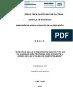 EFECTOS DE LA SUPERVISIÓN EDUCATIVA EN LA CALIDAD PROFESIONAL DEL DOCENTE A NIVEL DE LOS COLEGIOS PARTICULARES
