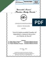 NIVEL DE DISFUNCIONALIDAD FAMILIAR DEL DEPENDIENTE A SUSTANCIA PSICOACTIVA EN EL DISTRITO DE HUACHO