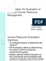 Presentation on Evaluation of Strategic Human Resource Management