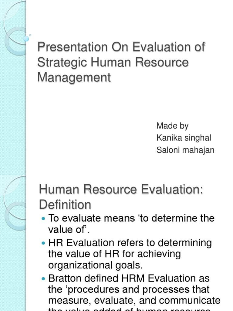 presentation on evaluation of strategic human resource management