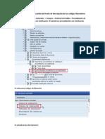 Procedimiento de cambio del texto de descripción de los códigos liberadores