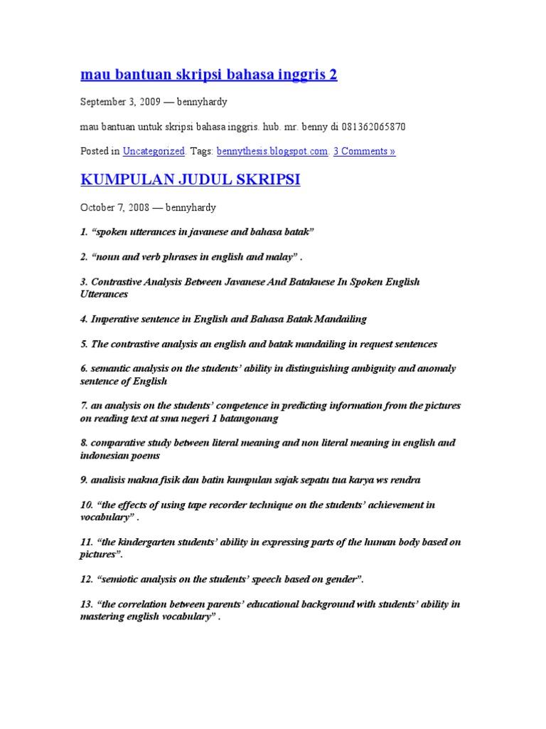 Skripsi Bahasa Inggris Tentang Speaking Ability Kumpulan Berbagai Skripsi