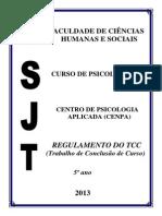 Regulamento Tcc Psicologia 2013