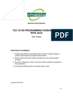 Specimen Exam Tcc 121 Programming Fundamentals With Java (2012)