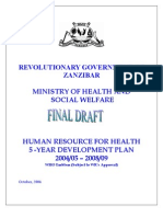 Zanzibar Human Resource for Health 5 Year Development Plan Final Version1
