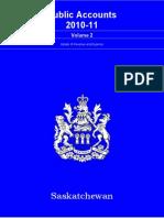 Public Accounts 2010-2011 Saskatchewan Government Details Of Revenue & Expenses