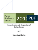2012 Payee Disclosure Report - Saskatchewan Government