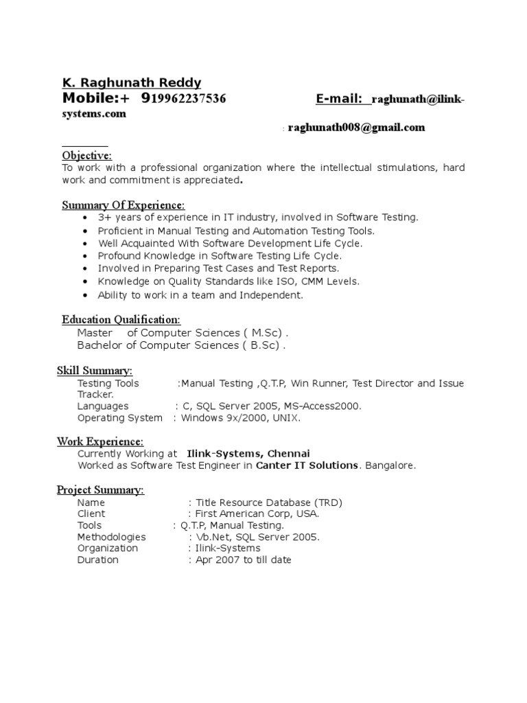 3 6 Yrs Exp In Testing Resume Software Testing Information Technology