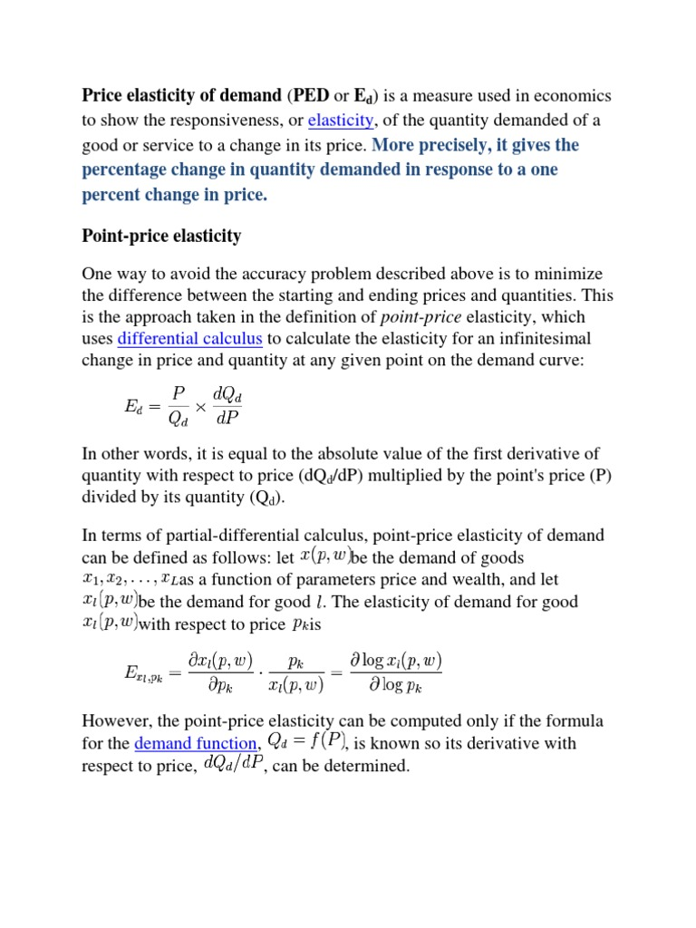 Elasticity Price Elasticity Of Demand Demand