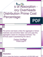 Methods of Absorption -II -Factory Overheads Distribution Prime Cost Percentage