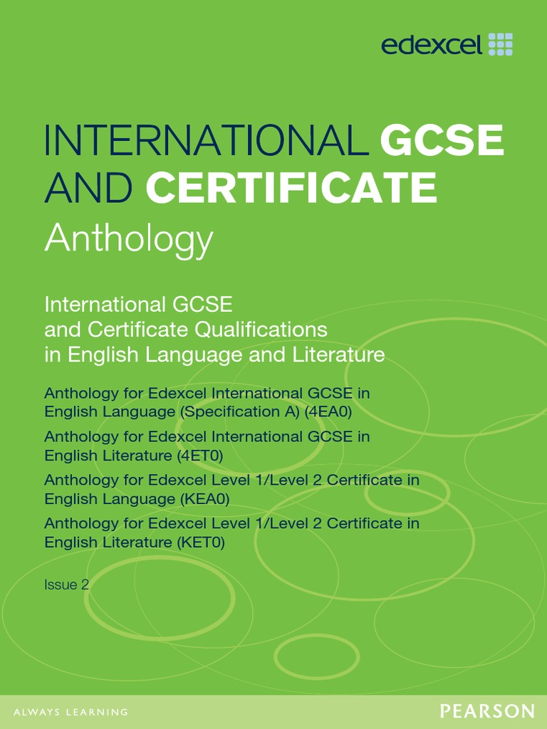 edexcel anthology 2011 for igcse The edexcel igcse in english literature is designed as a two-year course a selection contents of section c — edexc.