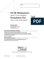 Mrjacksonmaths GCSE Foundation Non Calculator Paper C