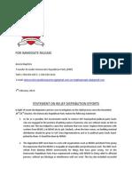 Statement on Relief Distribution Efforts
