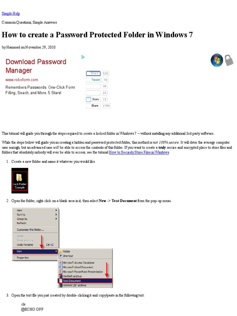 create password windows 7 folder