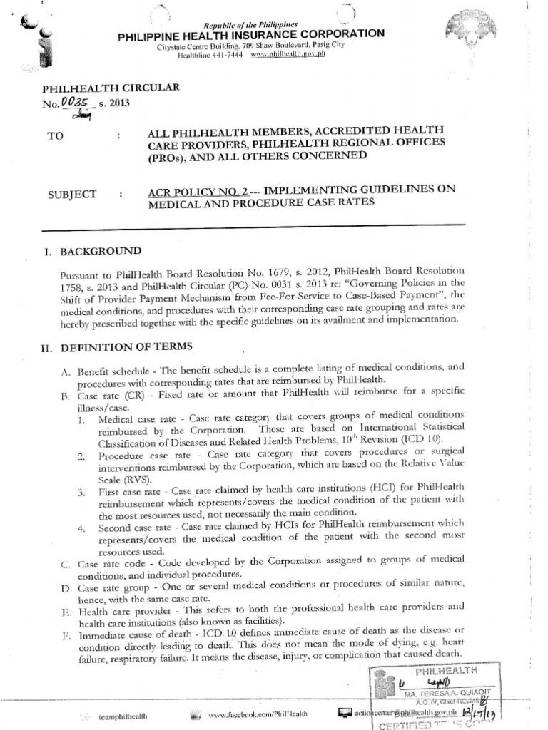 Philippine Health Insurance Corporation Circular No 0035 S 2013