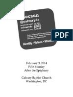 Bulletin, Sunday, February 9, 2014