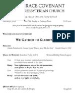 Worship Bulletin February 9, 2014