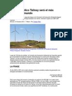 Proyecto eólico Talinay será el más grande del mundo