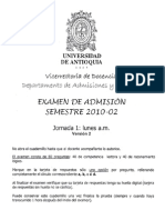 EXAMEN DE ADMISIÓN SEMESTRE 2010-2