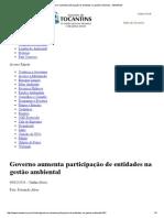 Governo aumenta participação de entidades na gestão ambiental - SEMADES