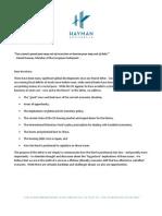 HCMF Investor Letter October 2009 FINAL