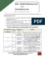 SSC CGL 2014 Model Preference List Gr8AmbitionZ