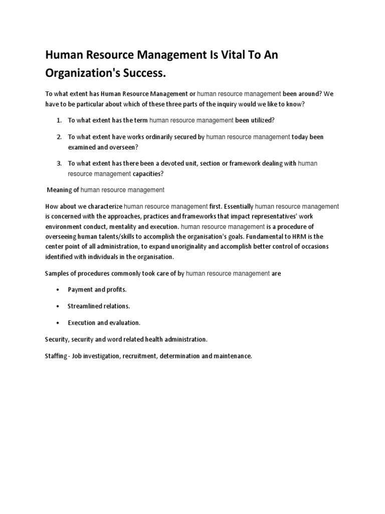 how can human resource management contribute to a companys success pdf