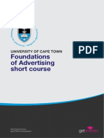 Uct Foundations of Advertising Course Information Pack