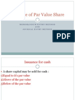 Issuance of Par Value Share