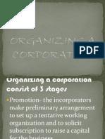 Organizing a Corporation