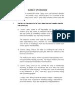 Summary of Pleadings