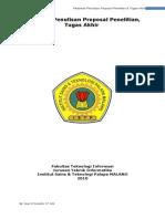 Pedoman Penulisan Proposal Penelitian & TA ISTP