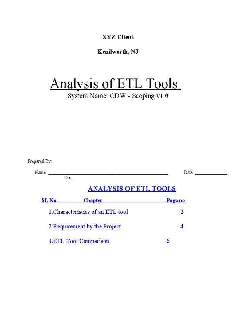 etl processing tools comparision  data warehouse  metadata