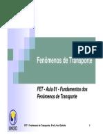 FET - Aula 01 - Fundamentos dos Fenômenos de Transporte PDF