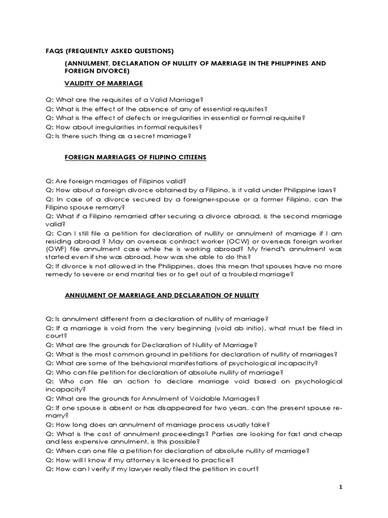 FAQ on Nullity and Foreign Divorce | Annulment | Marriage