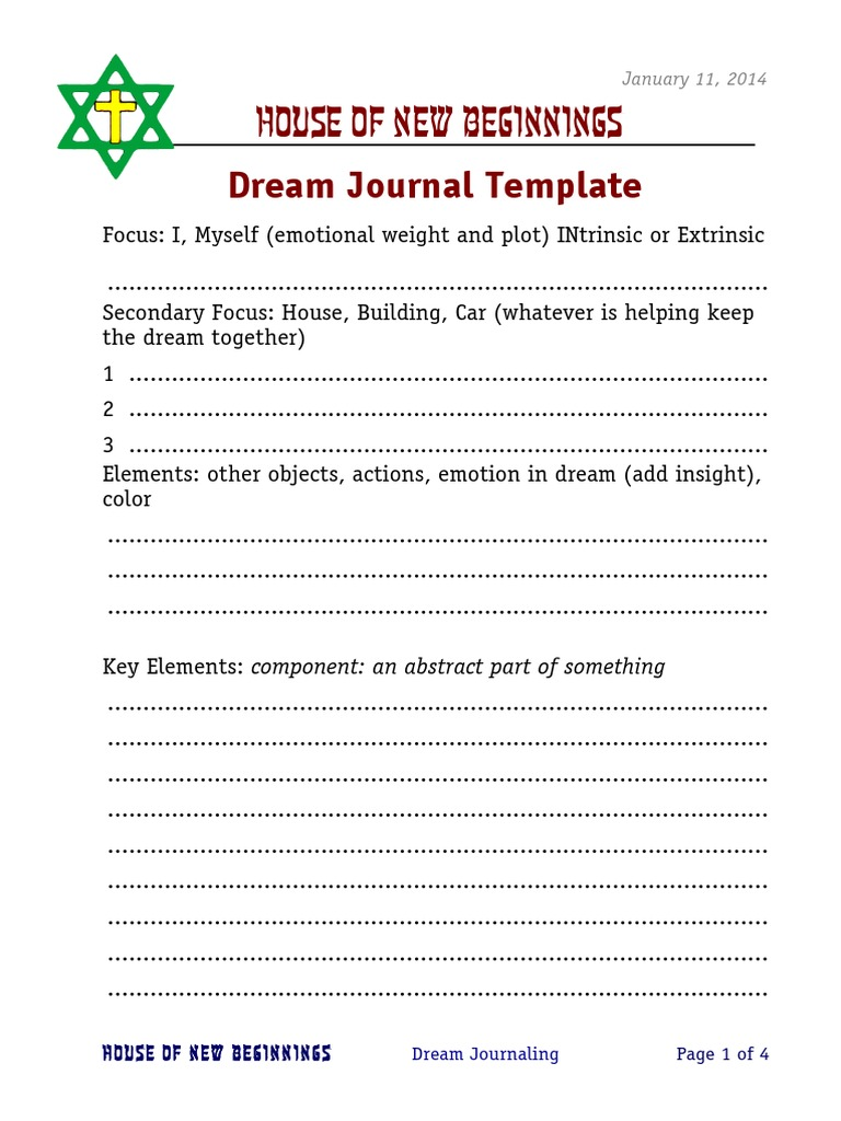 dream journal template