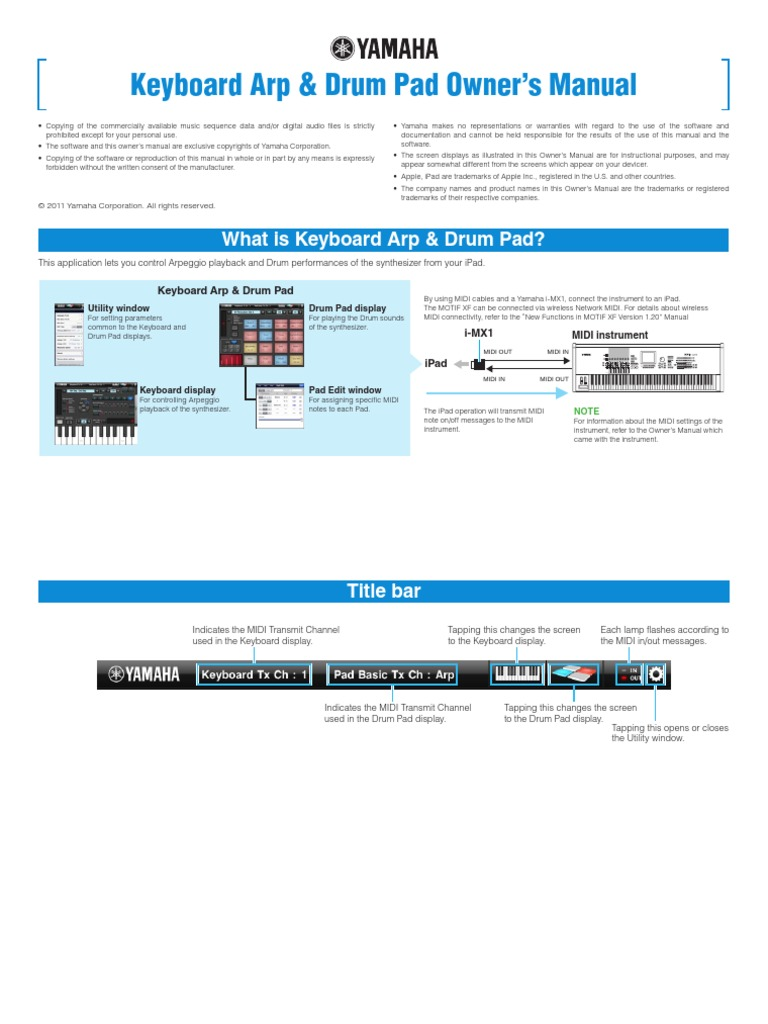 Keyboard Arp & Drum Pad Owners´s Manual | Synthesizer | I Pad