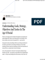 Understanding Goals, Strategy, Objectives and Tactics in the Age of Social - Forbes