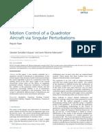 Motion Control of a Quadrotor Aircraft via Singular Perturbations