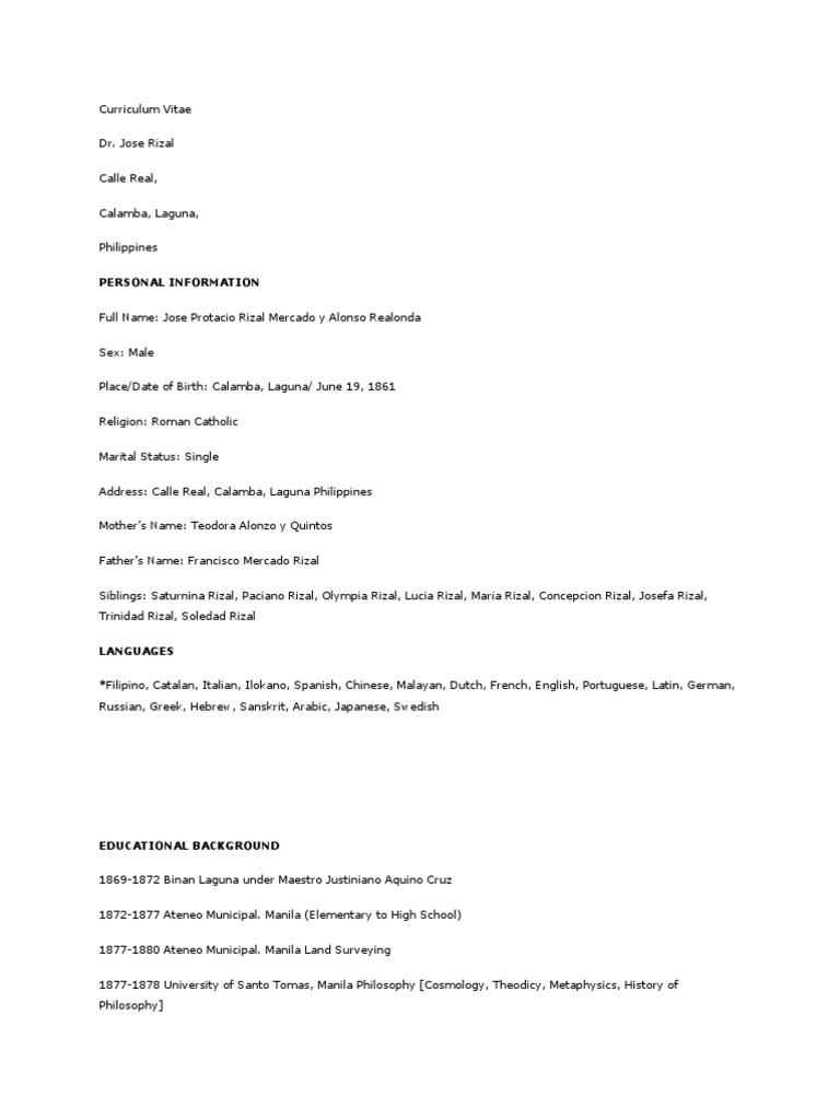 Curriculum Vitae Rizal