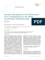 Numeric Simulation on the Performance of an Undulating Fin in the Wake of a Periodic Oscillating Plate