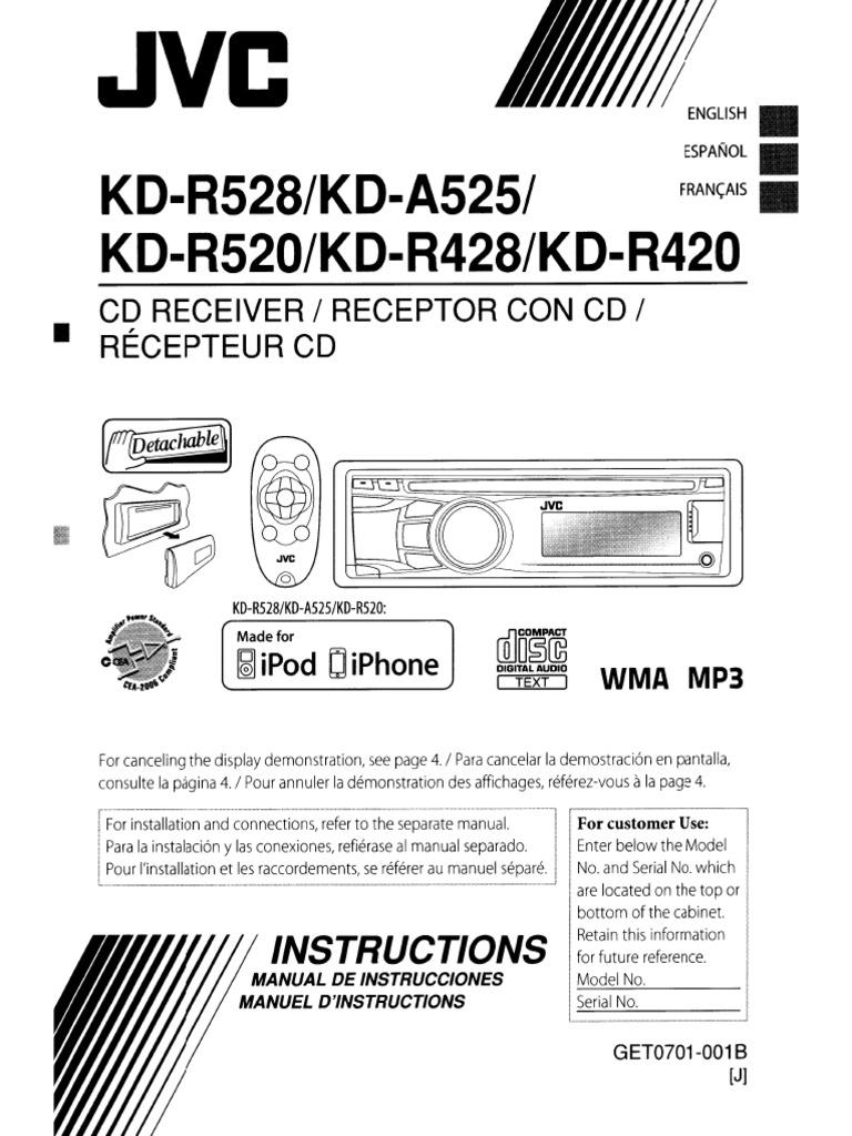 jvc kd r428 car stereo system i pod usb rh es scribd com JVC Touch Screen Manual JVC Receiver Manual