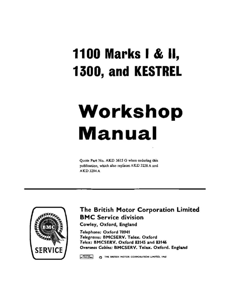 BMC 1100 & 1300 Workshop Manual | Vehicles | Propulsion J B Pive Wiring Diagram on